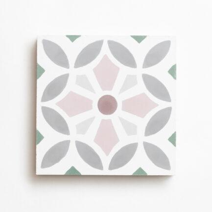 Mosaico Hidráulico Marrocos Rosa e Branco Encaustic cement tile Morocco Pink green white