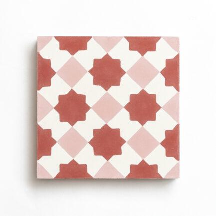 Mosaico Hidráulico Encaustic cement tile Gingham Red Stars
